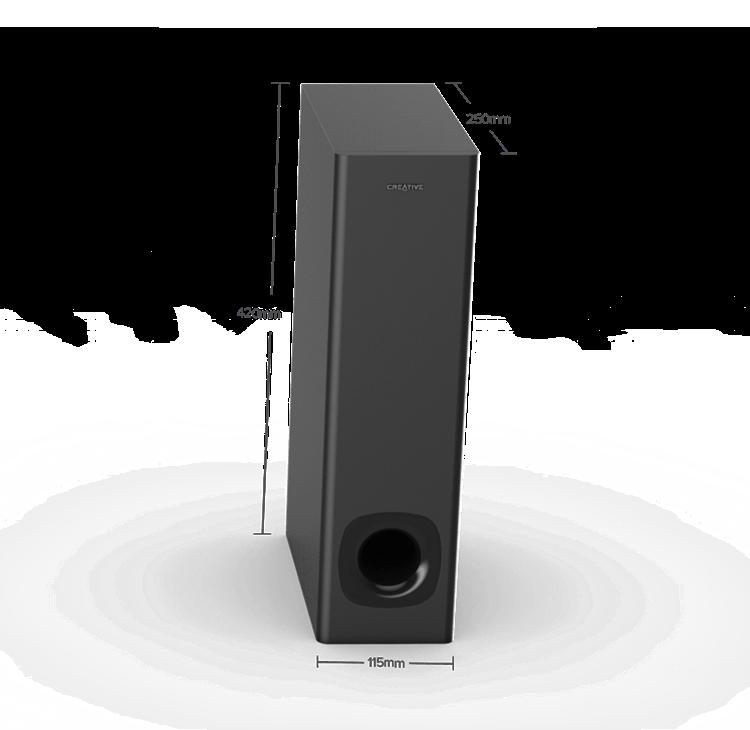 /óptica Clear Dialog y Surround de Sound Blaster Bluetooth 5.0 Barra de Sonido con subwoofer Creative Stage V2 2.1 TV ARC Montaje en Pared Graves y Agudos Ajustables para TV y Audio USB